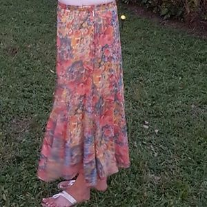 Coldwater Creek Colorful Maxi Skirt.